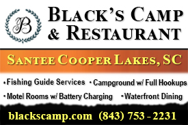 small banner for black's camp and restaurant