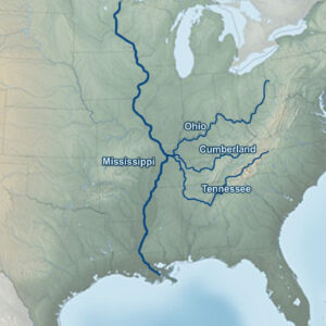 As shown in this graphic, the Cumberland River and Tennessee River flow to the Ohio River which in turn flows into the Mississippi River within about 25-miles from the confluence.