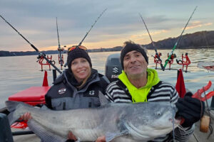 44-pound blue cat for Sunny Renee and Stan while fishing with Paula Curtis Smith.