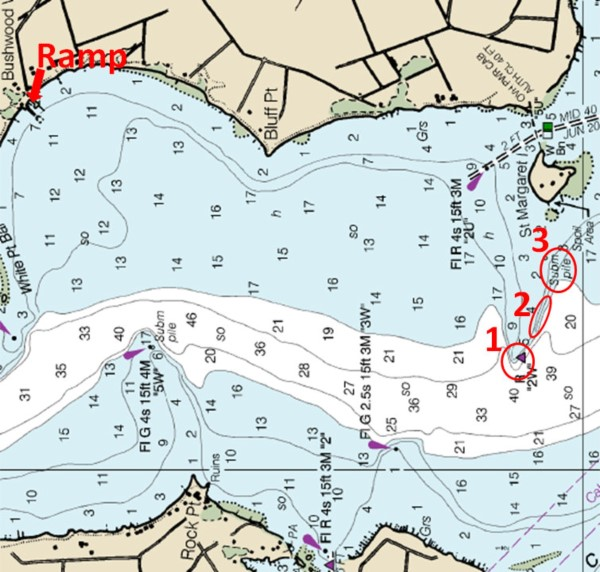 In a 2 and 1/4 mile stretch of river this chart shows three quality invisible structures within a few yards one another: 1.) a shallow point that drops into a deep channel, which is marked by a visible red buoy; 2.) a steep ledge dropping into deeper water; and 3.) a submerged pile.