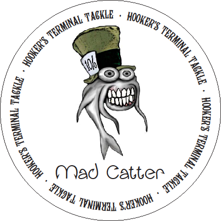 The Hookers Terminal Tackle Mad Catter logo is very familiar to catfish anglers. It is Arwood's first marketed hook.