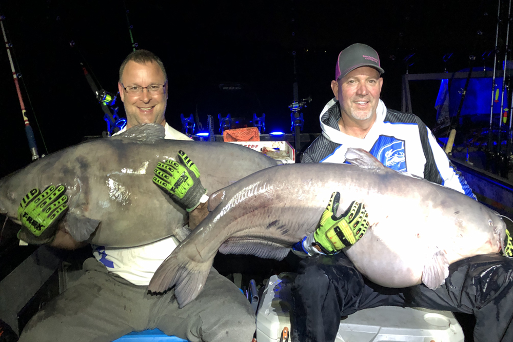 Stacey Gaston caught a 99-pound blue and Joey Kirby caught at 91-pound blue within 5 minutes of each other.
